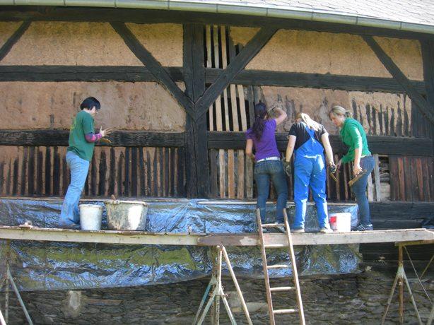 Sanierung der Scheunenmauer am Vierseithof Niederlungwitz
